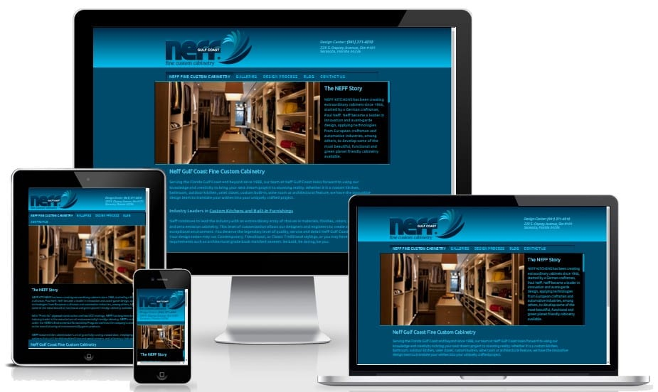 Responsive Web Design Montage for Neff Gulf Coast, premium custom website for downtown Sarasota Business