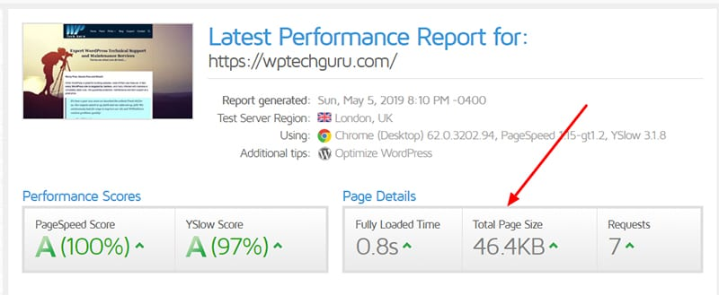 WPTechGuru GTMetrix PageSpeed Report