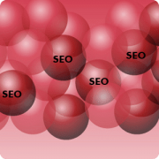 Red Balls with the word SEO on them symbolizing that SEO is in our blood