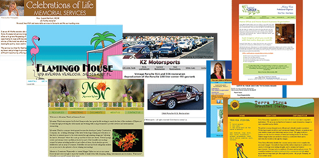 web design collage of home pages